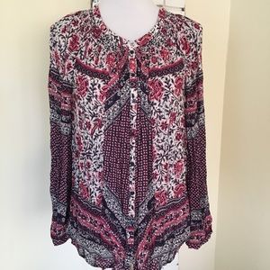 Lucky Brand M Floral Paisley Button Up Top